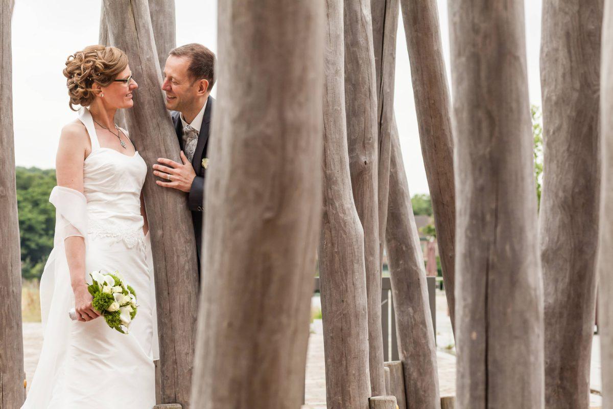Huwelijk fotoshoot aan brug Vilvoorde